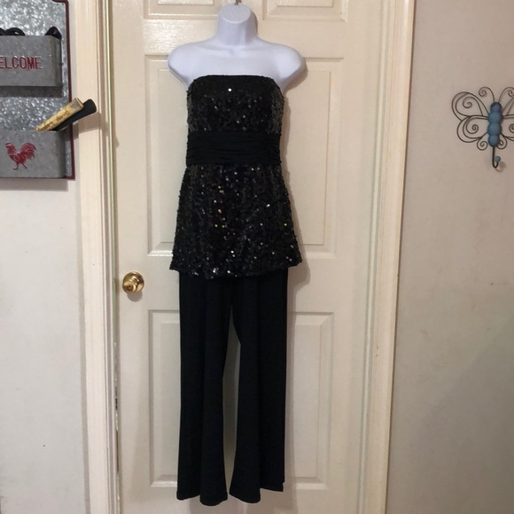 Formal wear one piece outfit with sequin top